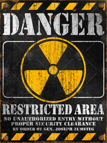 Danger Restricted Area warning sign, personalized poster, canvas print, black and yellow with white type, yellow radiation symbol in the center, vintage and distressed look and feel.