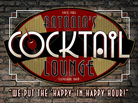 "Your cocktail lounge, personalized bar themed poster print, canvas print, framed print, old vintage brick wall background, art deco styled design with burgandy, gold, white and black colors, olive on toothpick in the center of the ""o""."