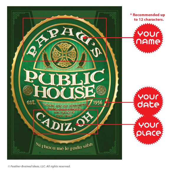 The public house, personalized Irish pub sign, poster print, canvas print, framed print, instructions for personalization.