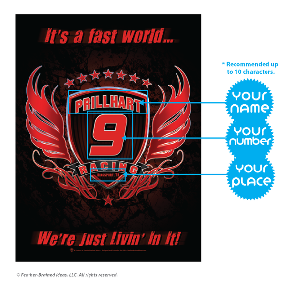 Your racing team, personalized poster print, canvas print, instructions for personalization.