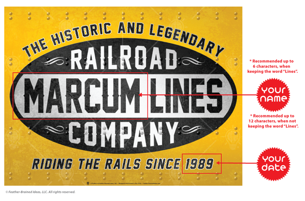 Your lines, railroad company, personalized poster print, canvas print, instructions for personalization.