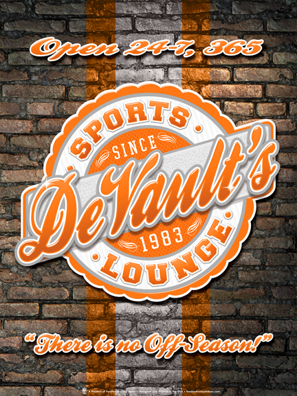 The sports lounge, personalized sports team poster print, canvas print, framed print, old brick wall in background, team colors in stripe, round graphic with orange white and grey colors.