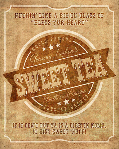 Your brand sweet tea, personalized poster print, canvas print, vintage and old timey look, old worn beige background, faded brown and white text and graphic, retro boarder.