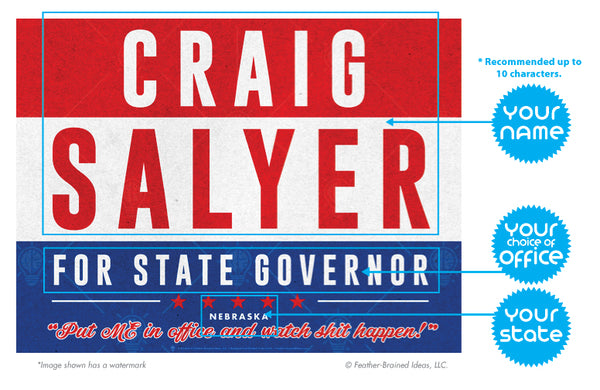 Your state governor, personalized political satire poster print, canvas print, instructions for personalization.