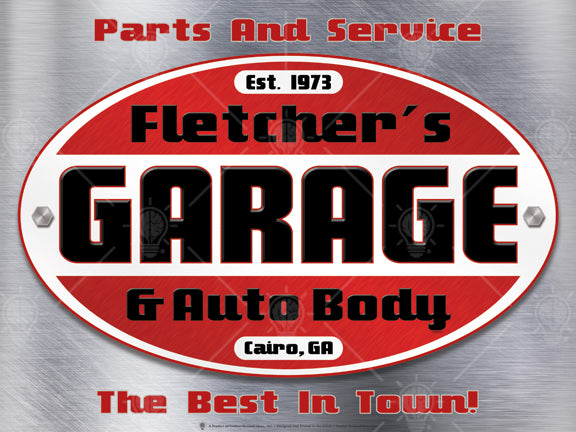 Your garage and auto body, personalized mechanic and garage poster print, canvas print, Stainless steel background, oval graphic with red, white and black colors, bold text reads garage.