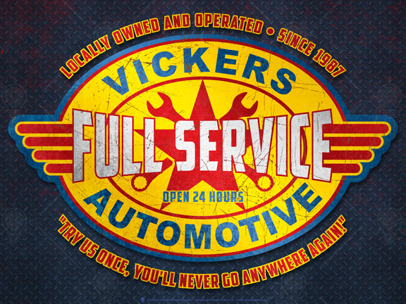 Full service automotive sign, poster print, canvas print, vintage and rustic look, dark blue background with diamond plate pattern, oval graphic, yellow with red wings, red star with crossed wrench icons, distressed.