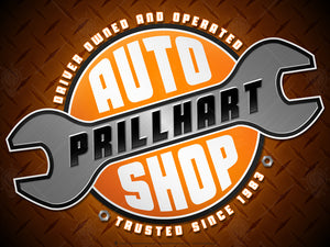 Your auto shop, personalized poster print, canvas print, dark diamond plate background, angled silver wrench graphic, orange black and white circle, white and black text.