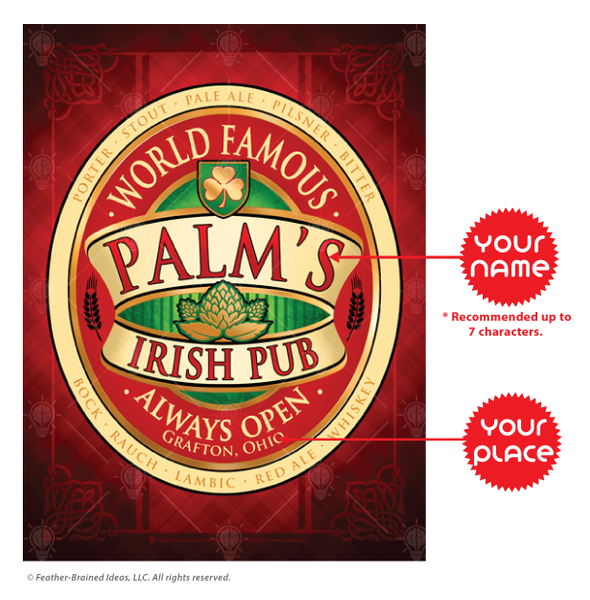 World famous Irish Pub, personalized poster print, canvas print, framed print, instruction for personalization.