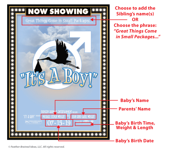 It's a boy, birth announcement, poster print, canvas print, instructions for personalization.