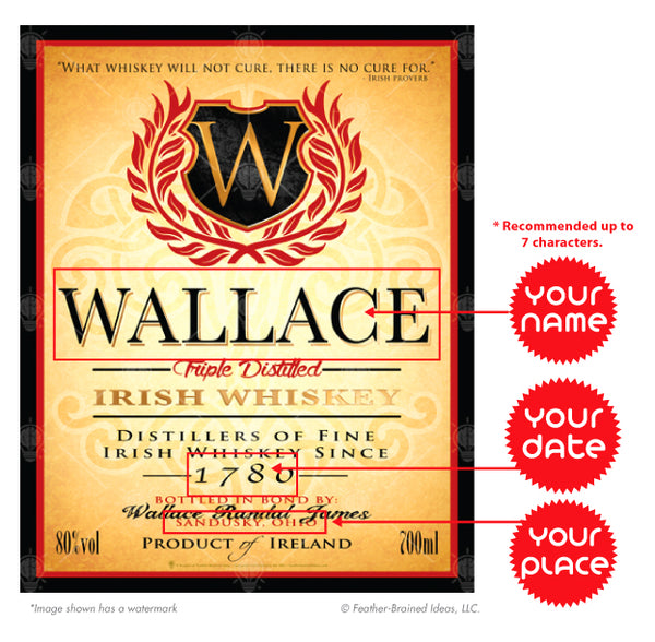 Irish whiskey label, personalized Irish poster print, canvas print, framed print, instructions for personalization.