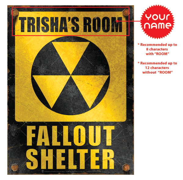 Personalized Fallout Shelter sign, poster print, canvas print, instructions for personalization.