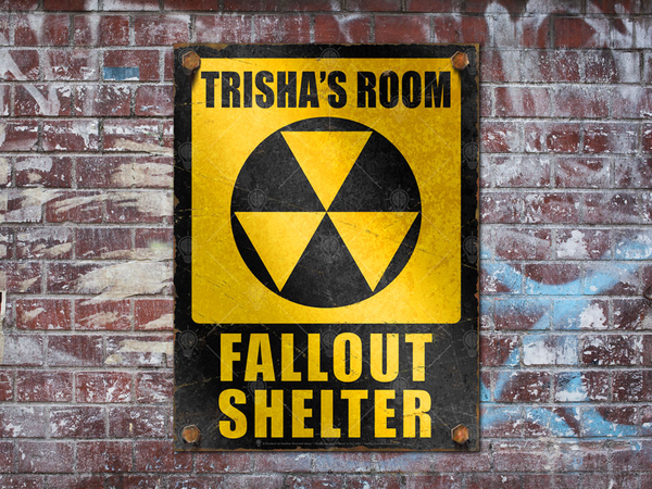 Personalized Fallout Shelter sign, poster print, canvas print, shown displayed mounted on a rustic brick wall, graffiti.