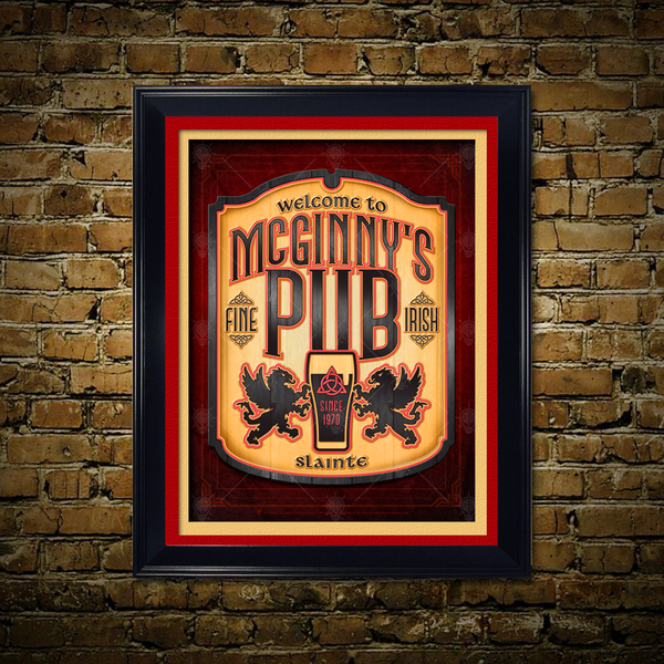 Personalized Fine Irish Pub print, canvas print, shown displayed, tan and red mats, black frame, rustic brick wall background.