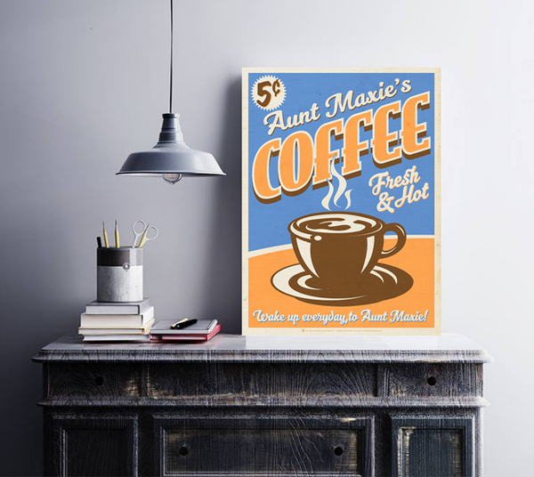 Your coffee, fresh and hot, shown displayed in a white frame, rustic grey wall background, on table top, hanging lamp.