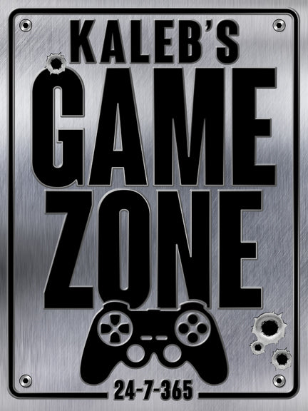 Game zone personalized sign, poster print, canvas print, shiny metallic background, bullet holes, black 3D type, game controller graphic,