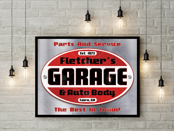 Your garage and auto body, personalized mechanic and garage poster print, canvas print, shown mounted on white brick wall, black frame, small hanging lights surround.