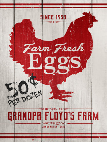 Personalized Farm Fresh Eggs sign, poster print, canvas print, rustic and vintage, white wood boards in background, red hen silhouette, red trim accents, black price.
