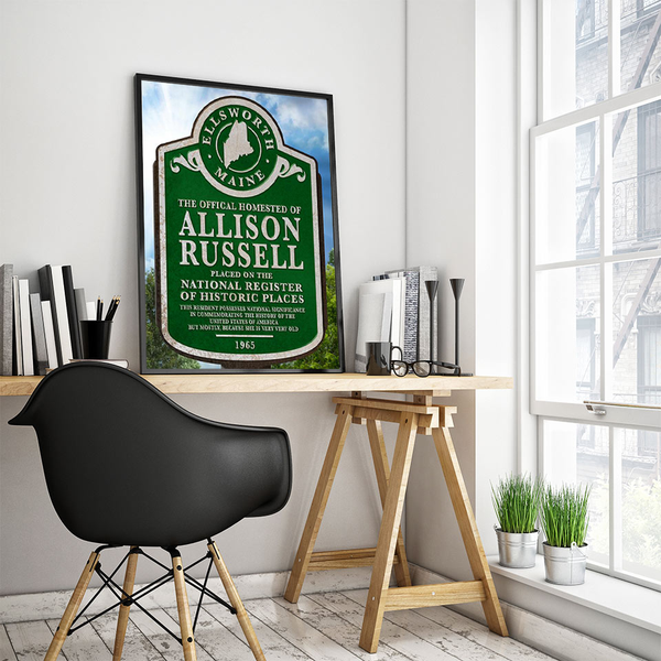 Historic Places marker sign, personalized poster print, canvas print, displayed in black frame, white wall, work station, books, black chair, window, green plants.
