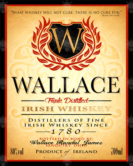 Irish whiskey label, personalized Irish poster print, canvas print, framed print, Vintage parchment background, celtic know super imposed on the background, upper center has monogram on shield with red laurel, text is black red and gold, with black and red boarder.