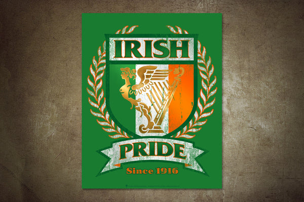 Irish Pride, poster print, canvas print, shown mounted on rustic wall background.