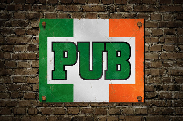 Irish Pub Sign, poster print, canvas print, displayed mounted on old brick wall background.