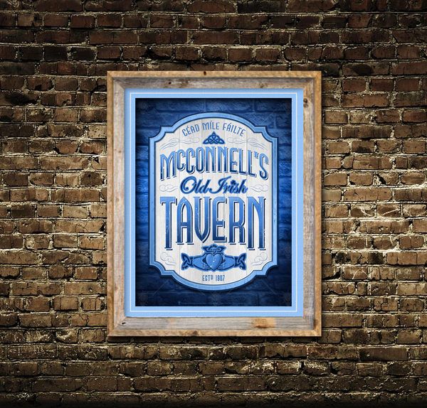 Old Irish tavern, personalized Irish poster print, canvas print, framed print, shown with light blue mats and barn wood frame, mounted on an old brick wall.