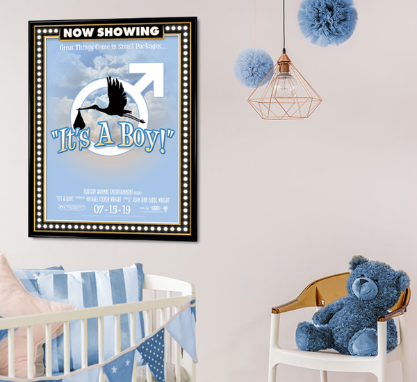 It's a boy, birth announcement, poster print, canvas print, displayed on white wall, boys nursery, blue teddy bear, chair, bassinet.