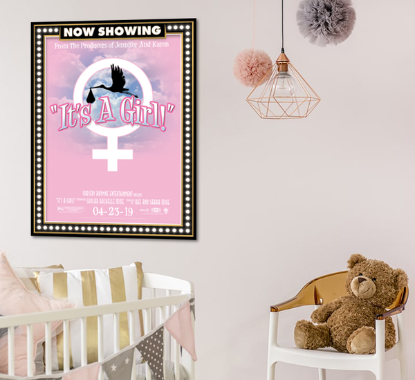 It's a girl, birth announcement, poster print, canvas print, shown mounted on white wall in baby nursery, teddy bear in chair, bassinet.