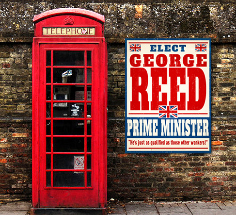Elect Prime Minister, personalized faux political campaign poster, displayed on old brick wall, old red English telephone booth.