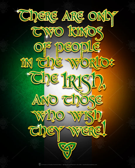 There are only two kinds of people in the world, the Irish and those who with they were, Irish humor poster print, canvas print, Black background with Irish flag colors, text is green with gold outline.