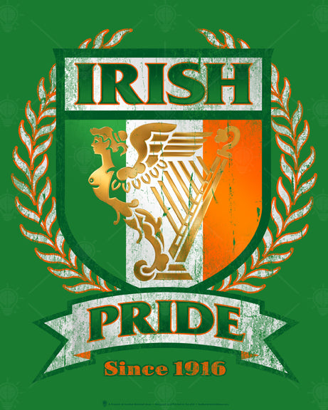 Irish Pride, poster print, canvas print, vintage, distressed look, green background, leaf laurel, shield shape with Irish flag colors, Ireland harp symbol, white ribbon.