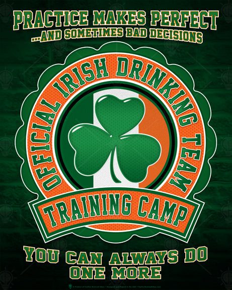 Funny Irish poster, official Irish drinking team, training camp, poster print, canvas print, dark green brick wall background, collegiate symbol with Irish flag colors, green shamrock in the center.