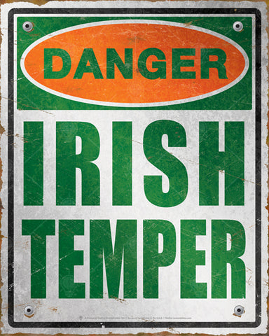 Danger Irish Temper, distressed danger sign, poster, canvas print, green white and orange, rusted edges, vintage look and feel.