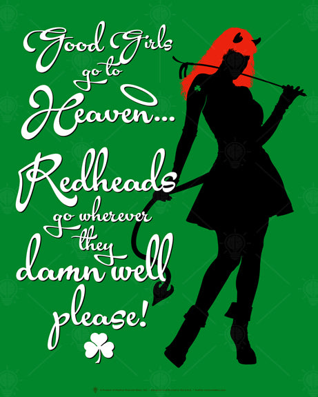 Red heads, funny Irish poster print, canvas print, green background, black she devil silhouette, red hair, white text.