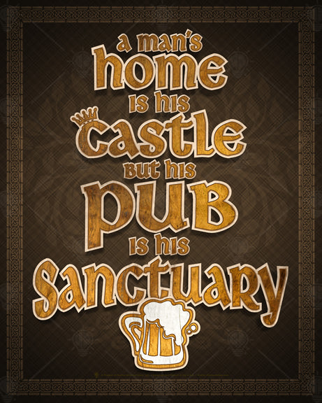 Rustic-style design with 3D wood carved lettering look in type and graphics, Brown background with a Celtic border.