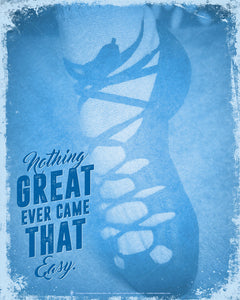 Irish dance, nothing great ever came that easy, poster print, canvas print, blue vintage distressed, image of dancing shoe.