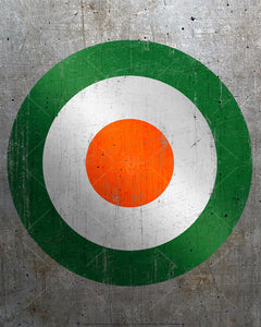 Old Irish air force symbol, poster print, canvas print, vintage and distressed design, target like symbol using Irish flag colors, rough and distressed metal background.