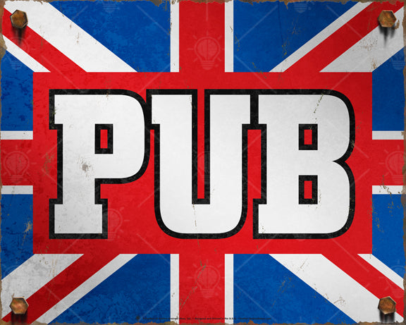 English Pub sign, poster, canvas print, vintage and rustic, rusted edges, heavy rusted bolts, red, white and blue, large bold letters read PUB over a red rectangular block.