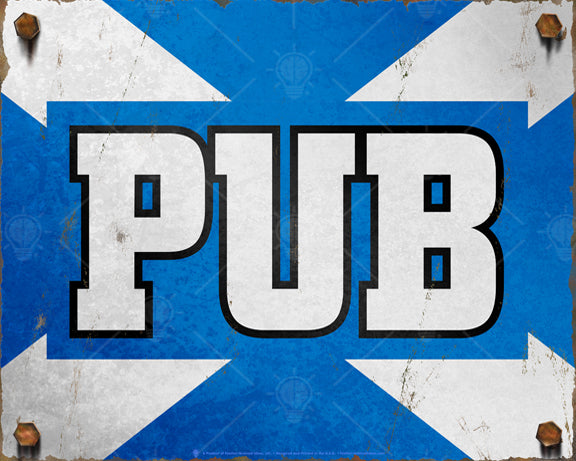 Vintage Scottish Pub sign, poster print, canvas print, rustic and distressed look, blue and white, Scotland flag colors.