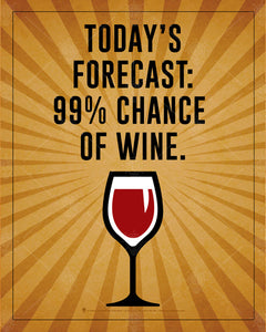 Today's forecast, 99 percent chance of wine, Humorous wine poster print, canvas print, brown background with light ray burst, red white and black graphic of wine glass in lower center, black text.