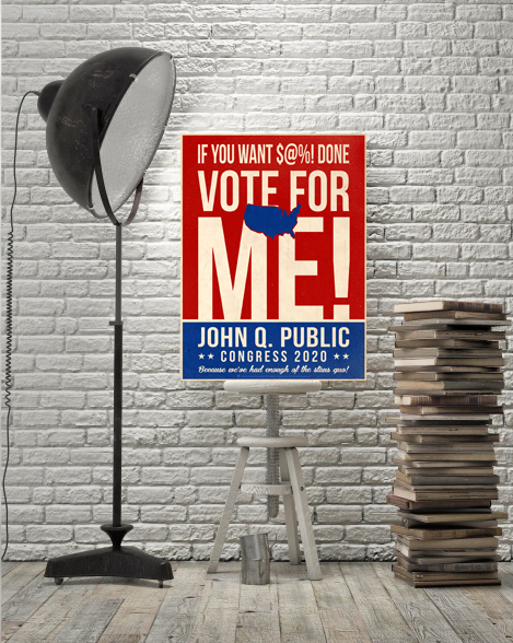 The nation, personalized faux political campaign poster, displayed on vintage easel, white brick wall background, stack of books, tall black floor lamp.