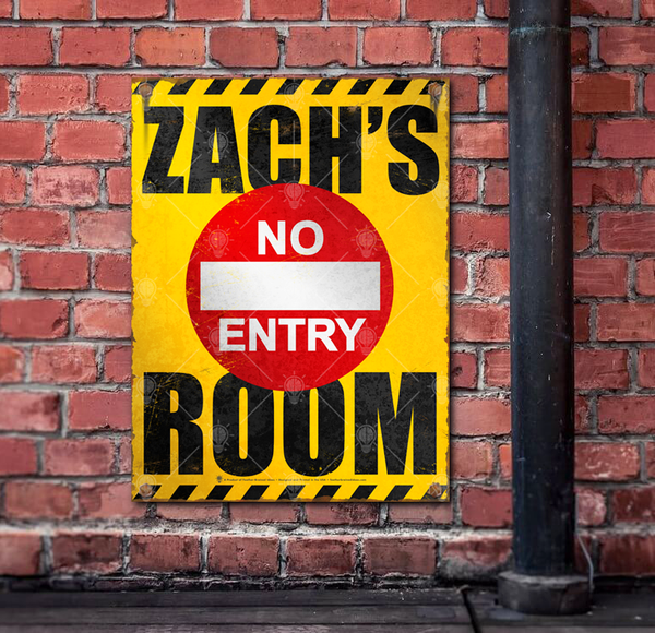 Your Room, no entry, personalized kids room poster print, canvas print, shown mounted on old brick wall.