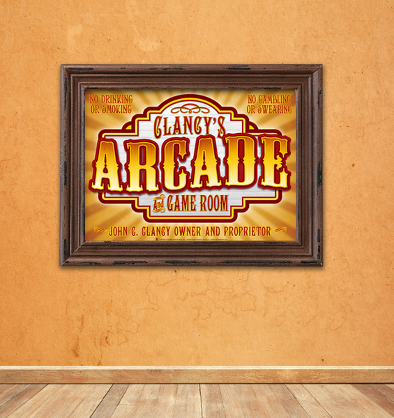 Old time arcade, perdsonalized poster print, canvas print, shown mounted in a brown frame, mounted on a cream color plaster wall, wood plank floor.