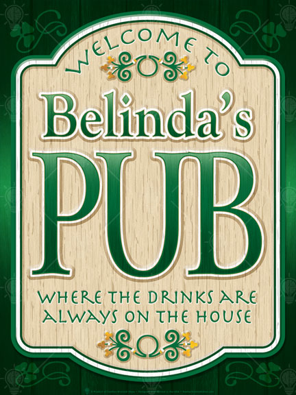 The old pub, personalized Irish pub sign, poster print, canvas print, framed print, dark green background, wood cut sign look, beige, green and white, green text.