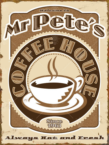 The coffee house sign print, vintage and retro style theme, coffee cup graphic in the center, rusted look to edges, colors used tan and browns.