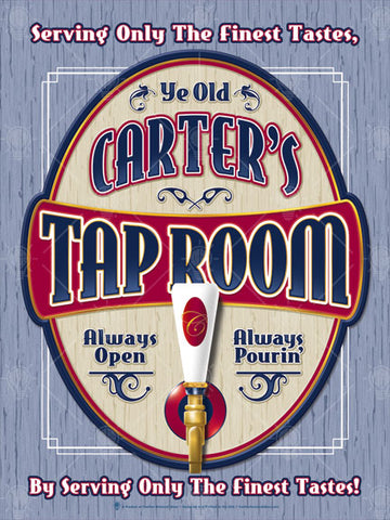 Tap room personalized poster print, canvas print, framed print, blue wood like background, oval shaped graphic, tan with red and navy accents, image of tap handle in foreground.