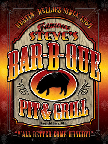 Personalized famous Barbeque sign, poster print, canvas print, firey background, wood carved plaque shape, black pig silouhette inside oval, Old west style type.