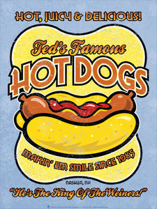 Personalized Famous Hot Dogs sign, poster print, canvas print, vintage and retro style, light blue background, yellow abstract shape, cartoon hot dog graphic, orange letters with white and black outlines.