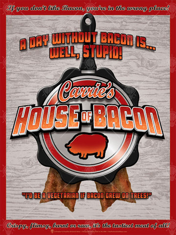 Your house of bacon, personalized poster print, canvas print, wood textured background, frying pan graphic in center, pig symbol, browns reds and orange.