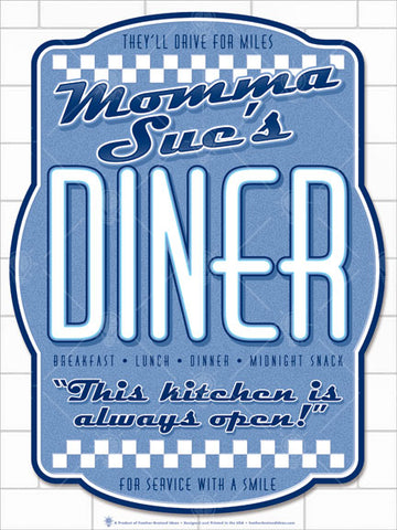 Your diner, personalized poster print, canvas print, background of white diner or subway tile, design is ornate shaped board, country blue, navy and white, white checker boards, large text reads diner.